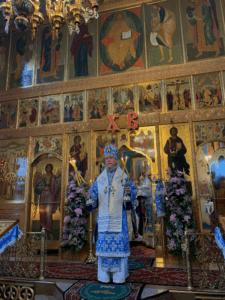 Епископ Нарвский и Причудский Лазарь благословляет молящихся во время Божественной литургии
