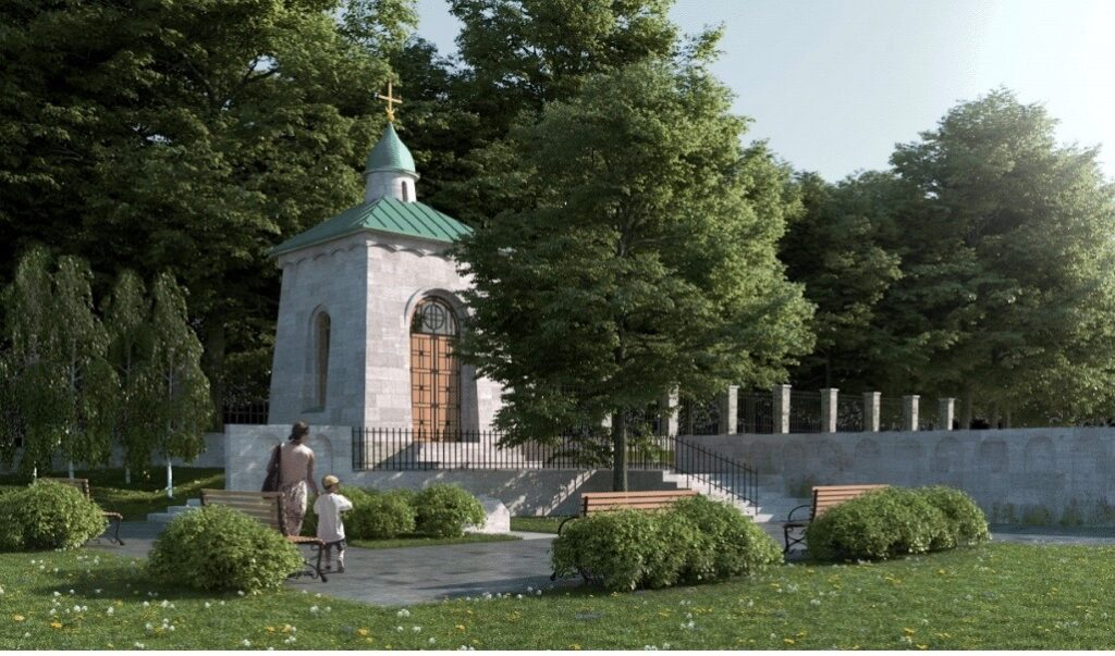 Püha Jüri kabeli taastamise ja memoriaalala kujundamise projekt. Foto: AB Ansambel