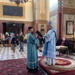 Божественная литургия в последний день праздника Успения Пресвятой Богородицы (на кафедре — епископ Маардуский Сергий)