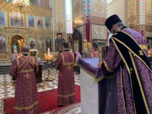 Перед чтением Евангелия (на кафедре - протодиакон Димитрий Огольцов)