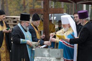 Освящение закладного камня в основание храма Школы Иоанна Богослова